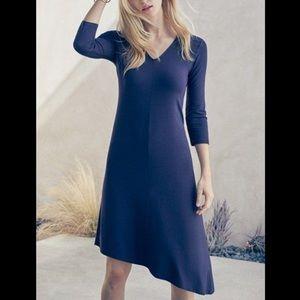 Eileen Fisher V-Neck Jersey Asymmetrical Dress